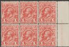 SG 17c ACSC 59(1)s. KGV Head 1913 1d Engraved pale shade part imprint block of 6 (AESM/7)